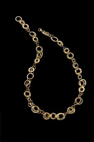 18k Gold Necklace, Gold Hoops Necklace, Rich Different Sized 18k Solid Gold Hammered Hoops Necklace, Fine Bridal Jewelry, Exclusive Design on Etsy, $3,300.00