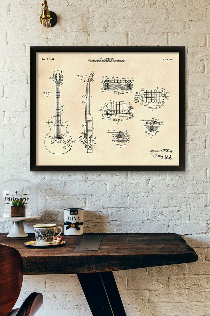 Guitar Patent Print- 1955 - Poster Wall art Illustration Print Art Home Decor…