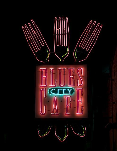 Blues City Cafe neon sign, Beale Street, Memphis, Tennessee