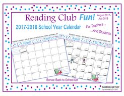FREE - 2017-2018 Mega Bundle SCHOOL YEAR CALENDAR (Back to School) - Enjoy 38 pages of back-to-school goodness! Includes:  • Reading Club Fun   Membership Certificate  • 2017-2018 School Year Calendar - Teacher Edition  • 2017-2018 School Year Calendar - Student Edition (Kids can record number of pages read) • Learning & Careers (Back to School) Bundle: · Two-Page Activity Set · Future Jobs Word Search Puzzle · A Lifetime of Learning Word Search Puzzle · Reading Log and Certificate Set