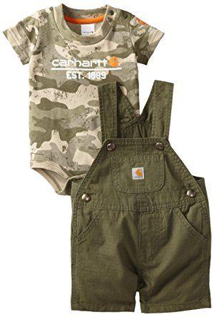 Carhartt Baby-Boys Infant Washed Bib Shortall Set, Ivy Green, 6 Months