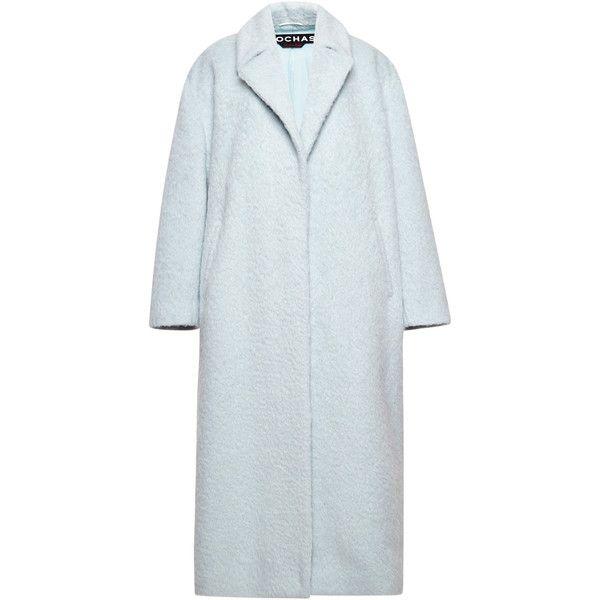 Rochas Pale Blue Wool Alpaca Coat (15,505 SAR) ❤ liked on Polyvore featuring outerwear, coats, wool coats, alpaca coat, woolen coat, rochas and long sleeve slip
