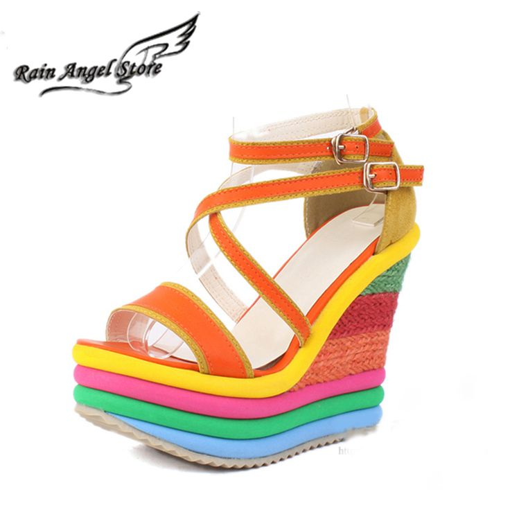 Kleine Maat 32 33 Lederen Sandalen Mode Regenboog Kleur Dikke Bodem Wiggen Hoge…