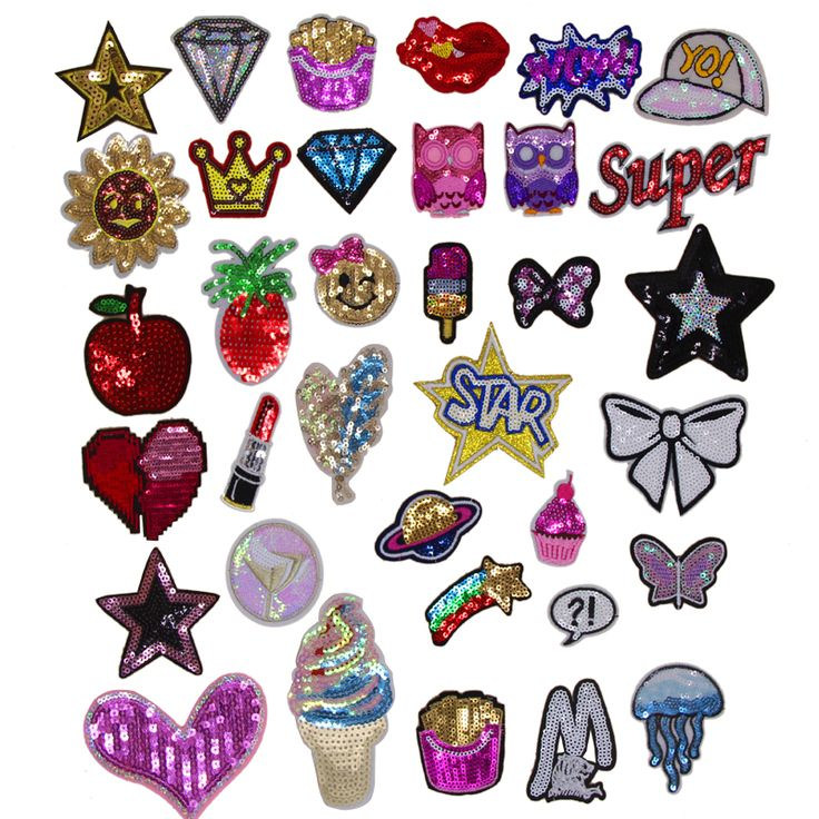 Cheap patch iron on, Buy Quality iron on directly from China patch iron Suppliers: New arrival 10 pcs Star Bow Crown Owl Fruit sequins Embroidered patches iron on cartoon Motif Applique hat bag shoe accessory