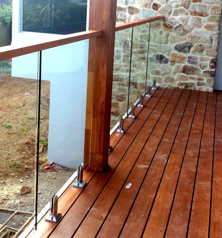 Image result for timber deck GLASS BAlustrade side mounted channel