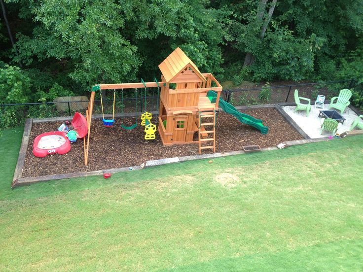 Railroad ties around swing set on hill the great outdoors