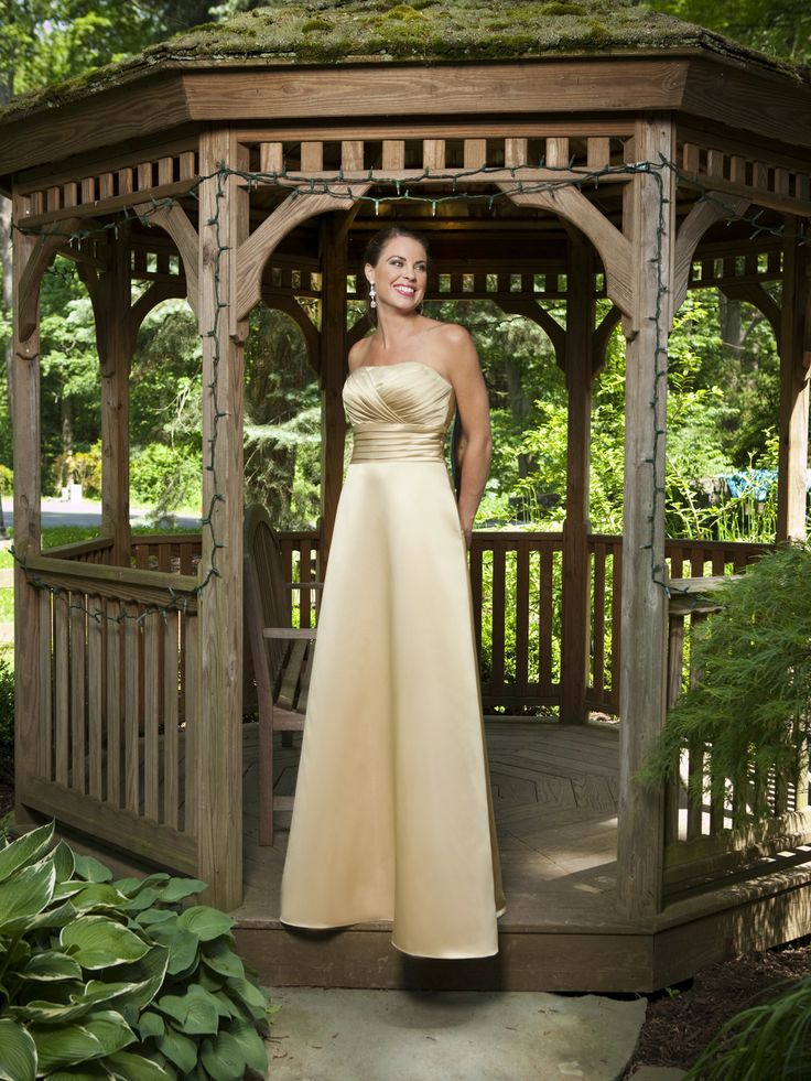 A-line satin bridesmaid gown with floor-length