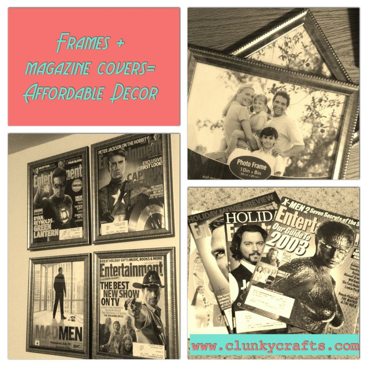 """#clunkycrafts.com Use discount frames from $1 store and any magazine cover or insert then cut it to size then frame.  It is a really nice """"cheap"""" way to decorate."""