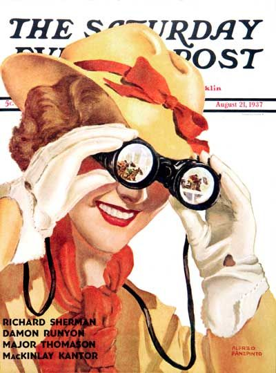Vintage Kentucky Derby Hat - Seeing Horses in Binoculars by Alfred Panepinto, August 21, 1937, The Saturday Evening Post Cover