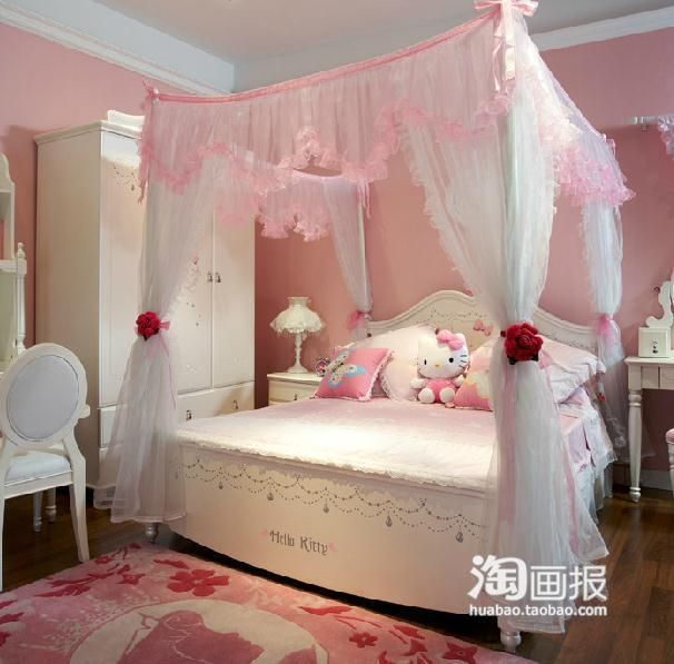 32 Dreamy Bedroom Designs For Your Little Princess: Hello Kitty Pink Princess Bedroom! Not Too Obnoxious Like