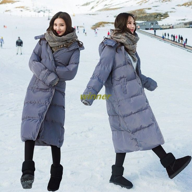 Womens Loose Cotton Padded Hooded Over-The-Knee Thickening Long Winter Jackets