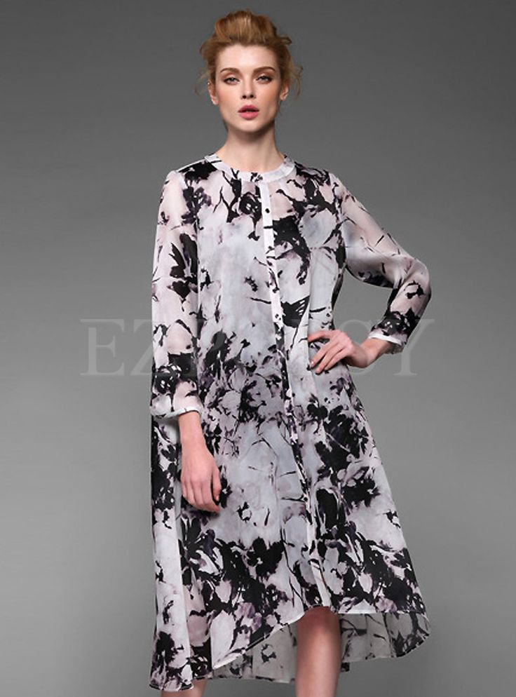 Shop for high quality Loose Print Button Silk Dress online at cheap ...