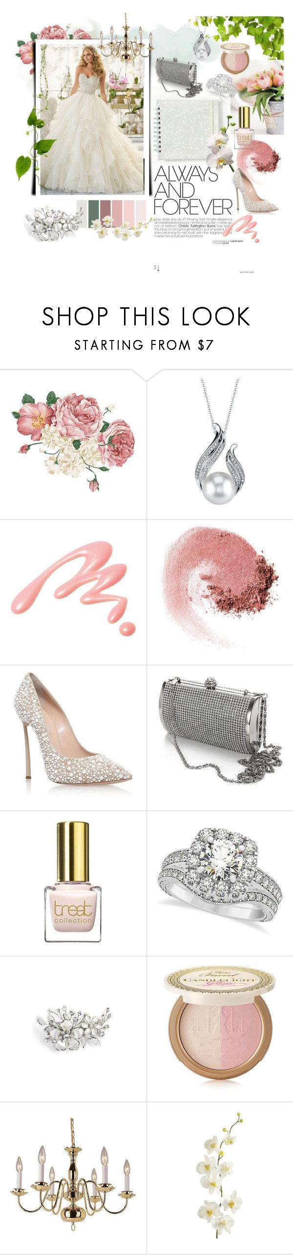 """""""Blush wedding"""" by iwona-estera on Polyvore featuring Mori Lee, Chantecaille, NARS Cosmetics, Casadei, Allurez, Wedding Belles New York, Too Faced Cosmetics, Improvements and Pier 1 Imports"""