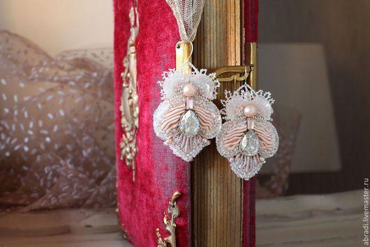"""Серьги ручной работы. Ярмарка Мастеров - ручная работа. Купить Серьги """"Эдемский цветок"""".. Handmade. Бледно-розовый, розовый, шёлк"""
