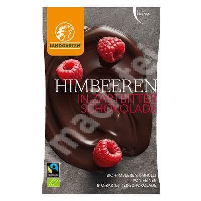 """Zmeura in ciocolata neagra Bio, 50 g, Landgarten<br /><span class=""""small"""">[9004998002030]</span>"""