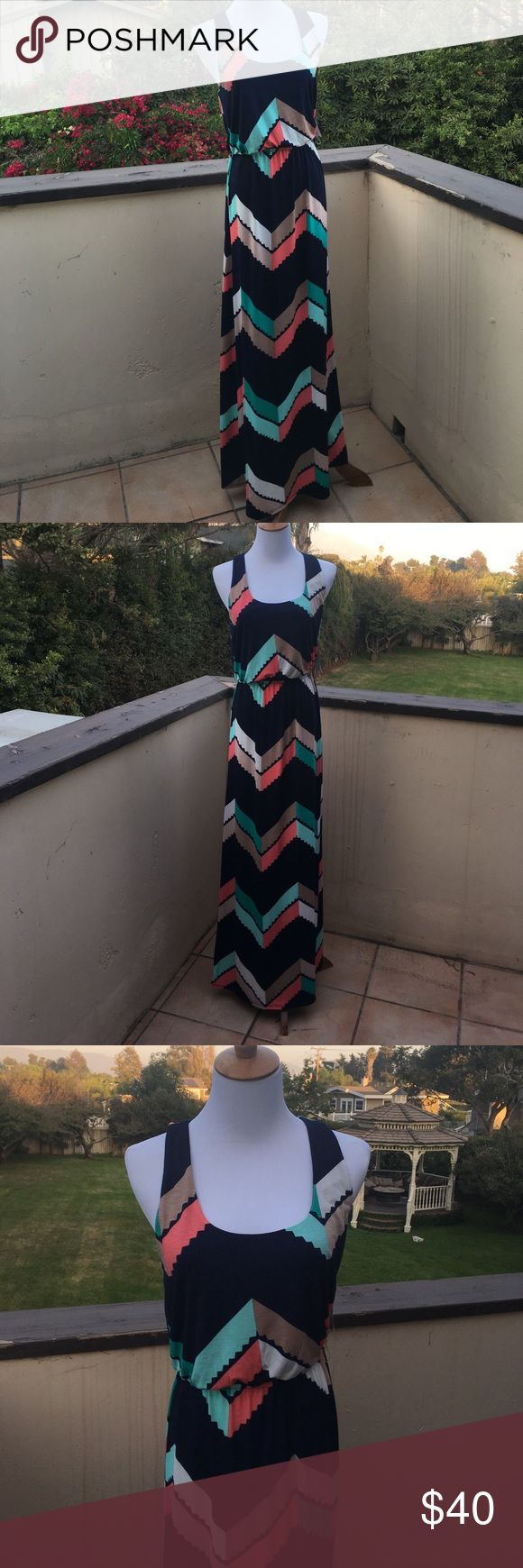 Beautiful multi colored maxi dress Beautiful multi colored maxi dress with elastic waist. Colors of blue, orange, mint, white and beige. Brand new with tags. Trixxi Dresses Maxi