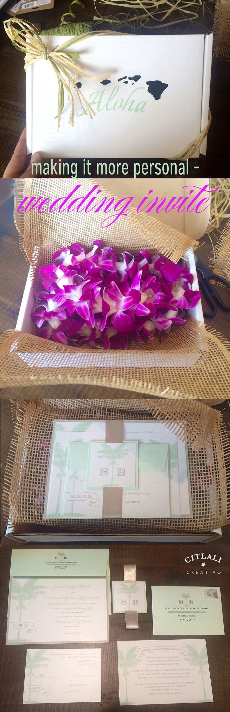 Citlali Creativo Palm Tree Hawaii Destination Wedding Invitations With  Clients Presentation! Adding That Personal Touch