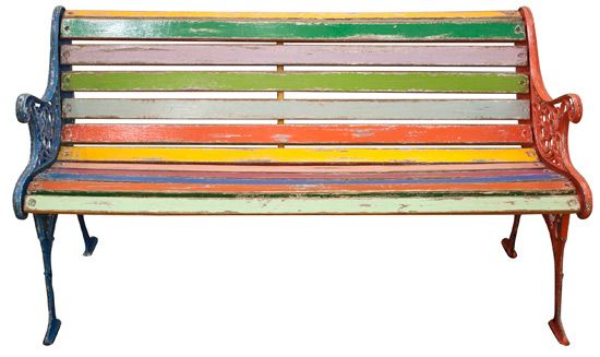 Upcycled painted wood bench with cast iron frame.  Great idea for brightening up old garden furniture and adding a splash of colour.