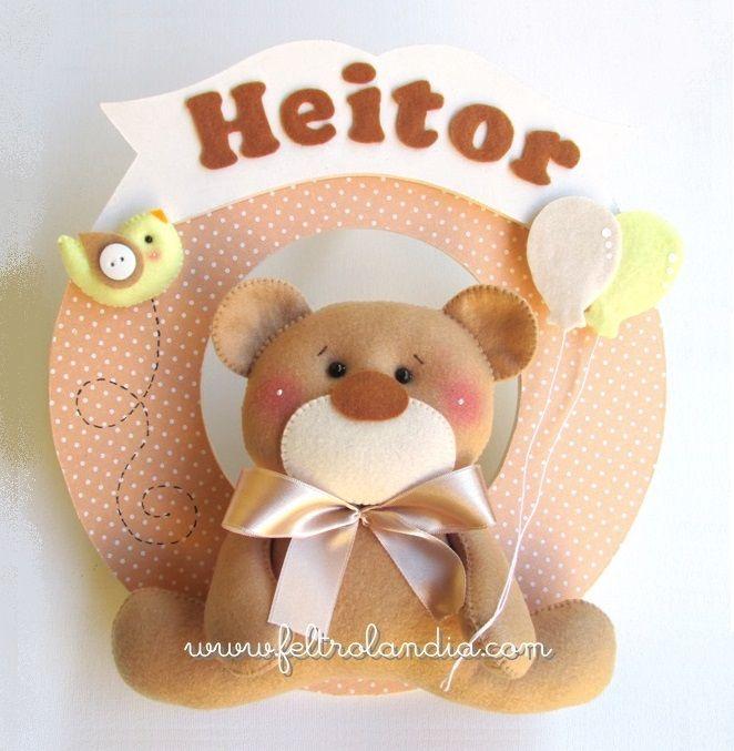 Feltrolândia • O mundo mágico do Feltro: Enfeite de Porta - Urso com Balões