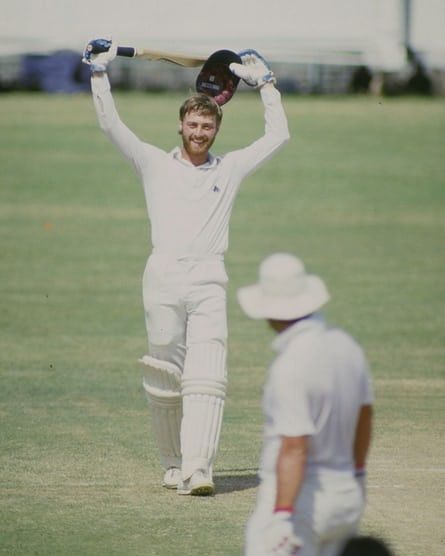 Jan 1985: Graeme Fowler of England celebrates his double century during the fourth test against India in Madras, India. Mandatory Credit: Adrian Murrell/Allsport
