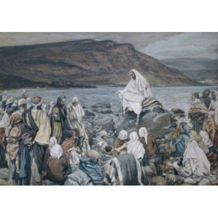 Jesus Teaching by the Seashore James J Tissot (1836-1902 French) Watercolor on Paper Canvas Art - James Tissot (24 x 36)