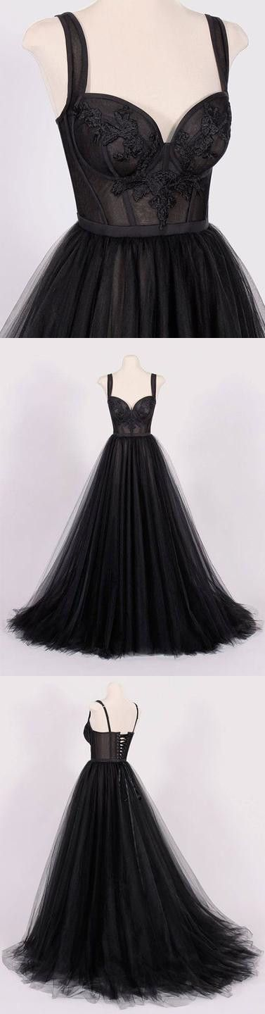 Newest Black Sweetheart Neck Tulle Prom Dress