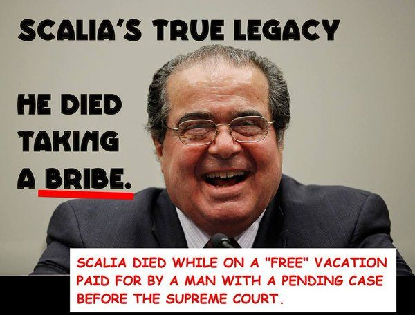 Another example of republican dishonesty! Now you know why republicans don't want President Obama to nominate a Supreme Court justice. A company owned by Scalia's host who owned the ranch where he died was involved in a another case earlier that made it to the high court. The Supreme Court declined to hear that case involving an age discrimination lawsuit court records show.