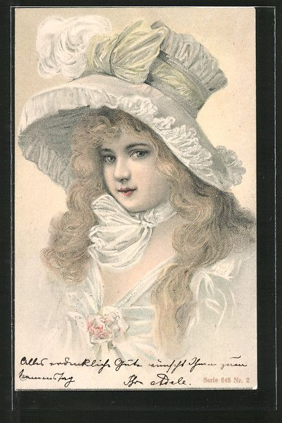 Onlineshop for old Postcards. Postcard from Postcards > Motifs / Themes > Ladies / Woman / Fashion > Ladies / Woman with hat: Lithographie Porträt blonde Frau mit Hut. old postcard Number: 6737732. Secure purchase: unrestricted right of recall.