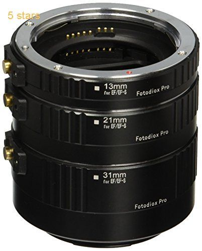 Fotodiox Pro Auto Macro Extension Tube Kit for Canon EOS EF/EF-S Lenses for Extreme Close-Up Black