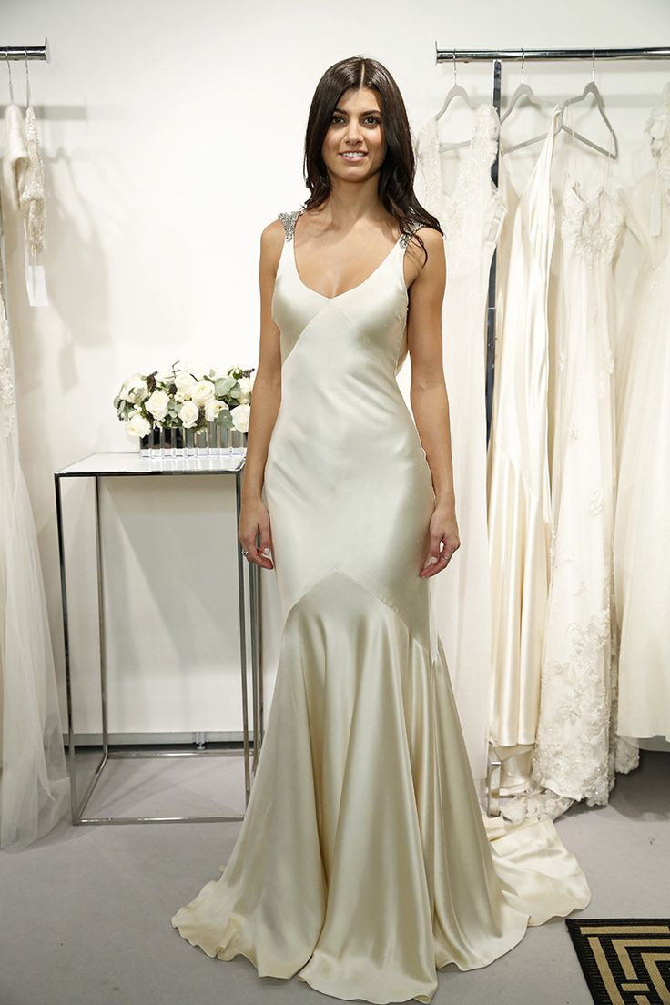 Sarah janks fall 2014 beautiful receptions and sexy for Satin silk wedding dresses
