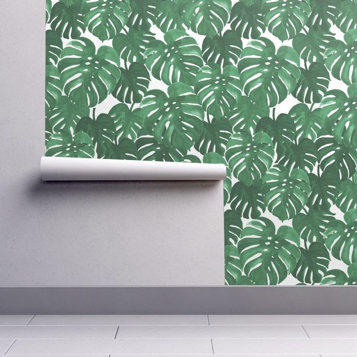 Banana Leaf Wallpaper - Monstera Plant Tropical Palm by Charlotte Winter - Custom Removable Self Adhesive Wallpaper Roll by Spoonflower by Spoonflower on Etsy https://www.etsy.com/listing/486112421/banana-leaf-wallpaper-monstera-plant