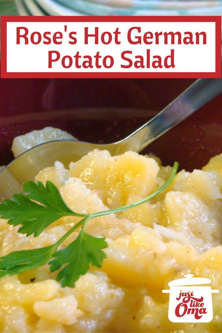 Hot German potato salad from southern Germany. Soooo gooood!    Check it out: http://www.quick-german-recipes.com/hot-german-potato-salad.html    it! Make it! Enjoy it! Share it with us & tag #justlikeoma  ~ Oma Gerhild ❤️