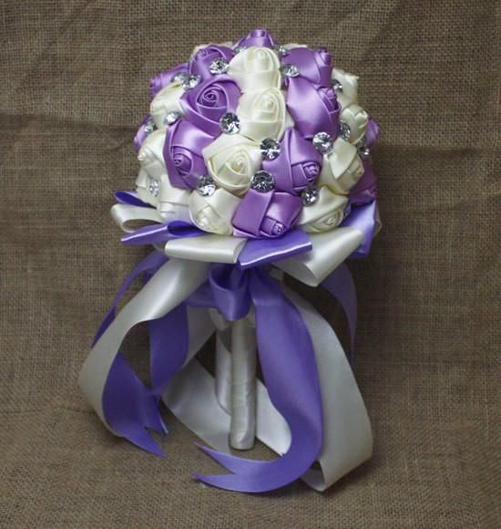Hand Made silk  beaded Brooch bridal flowers ( Lavender and ivory)