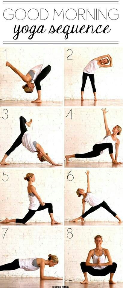 Good Morning yoga sequence. I did this this morning following my HIIT and man! This REALLY works - woke me up and loosened me up post-workout. I did add some leg stretches to keep my legs from stiffening later.