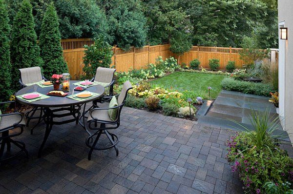 Small backyard landscaping ideas with small patio and dining table and chair sets