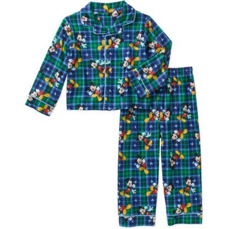 Mickey Mouse Baby Toddler Boy Button Down Pajama Sleepwear Set, Blue