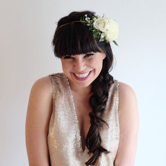 Ivory Flower Crown Bridal Headpiece Peony Floral Halo