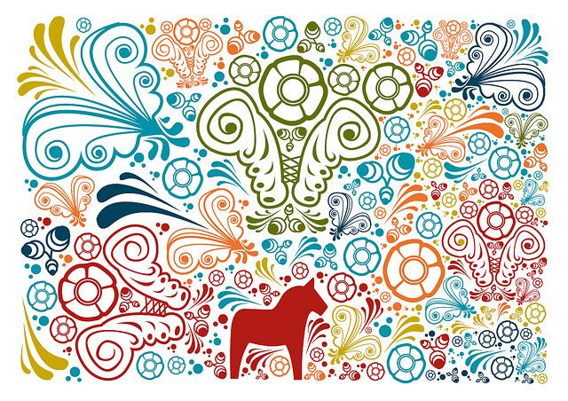 Modern doodly take on kurbits. I love it!! Siljan kurbits by United Power