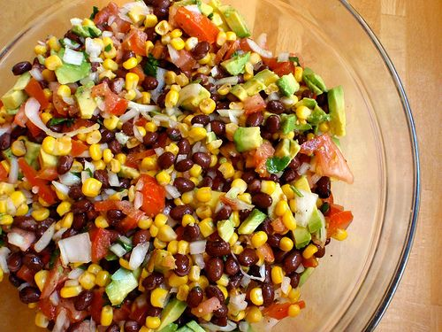 Black Bean Salsa  *Just made my version, delicious!*  1 can black beans (rinsed  drained)  1 cup frozen corn (thawed)  1 sweet red or green pepper (chopped)  1/2 cup red seedless grapes (chopped)  1/4 cup fat free Italian dressing  1ts brown sugar  (Optional: chili powder or chopped hot peppers)