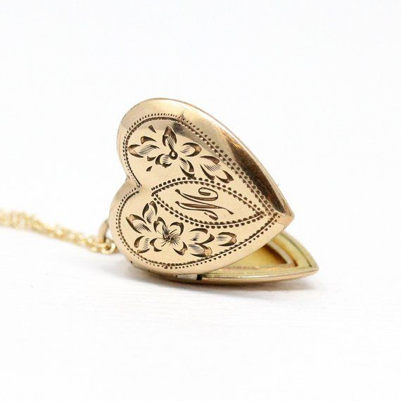 Letter M Locket Vintage Rosy Yellow Gold Filled Etsy Sweetheart Jewelry Heart Shaped Jewelry Heart Shaped Pendant Necklace