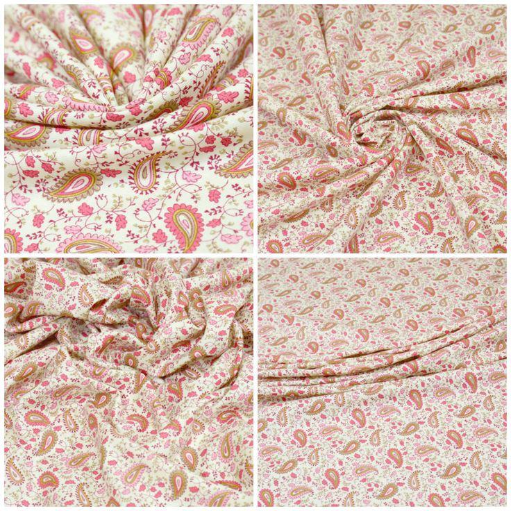 Плательная ткань, твил арт. 04-100-0060 Фон сливочный, розово-коралловая гамма Ширина: 145 см, плотность: 150г/м2 Состав ткани: 50% хлопок 50% вискоза Назначение: Юбки, платья Пластичная, немного держит форму. С приятным матовым блеском. Не просвечивает. #плательная#твил#хлопок#вискоза#пейсли#tutti-tessuti