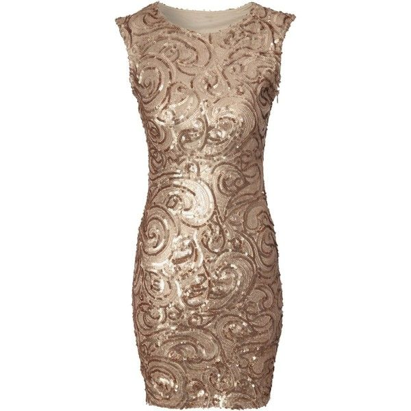 Jane Norman Gold Sequin Swirl Bodycon Dress Found On Polyvore