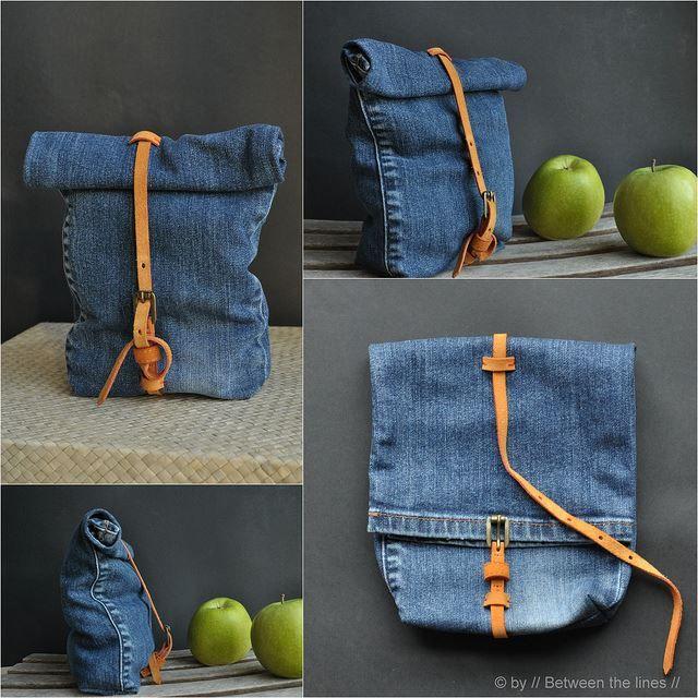 denim snack bag :: a recycling project [Inspiration Mondial Tissus] On recycle un vieux jean trop grand et on en fait un sac, chic.