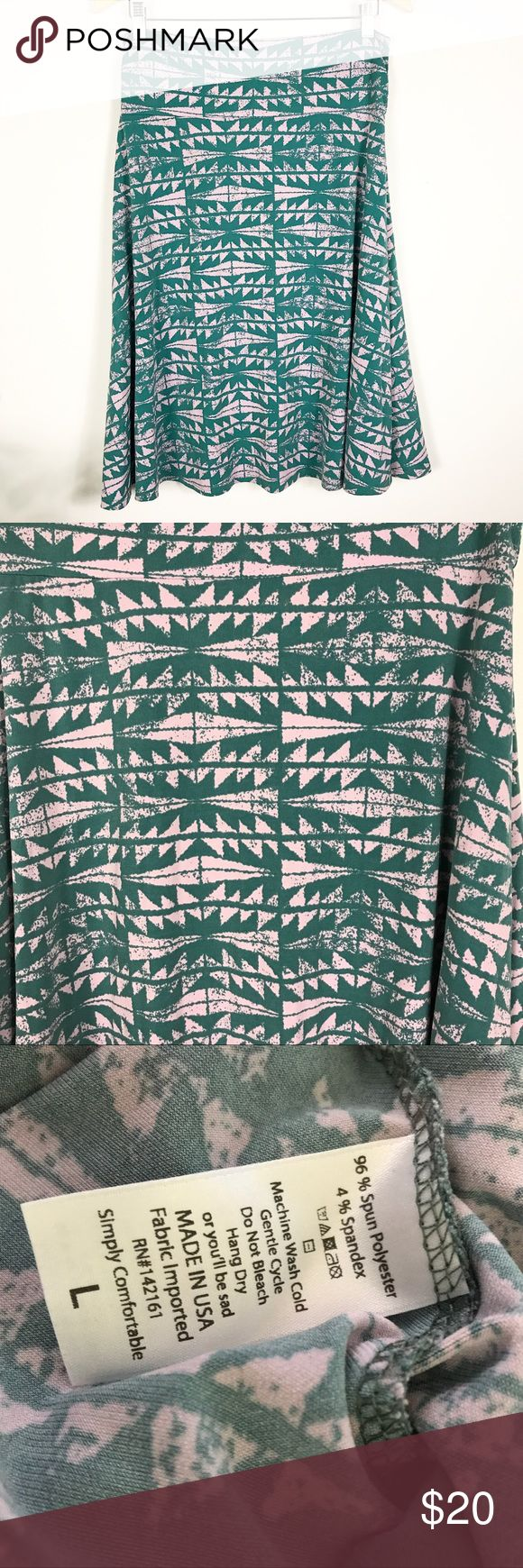 LULAROE LARGE AZURE SKIRT TEAL PINK AZTEC PRINT LULAROE LARGE AZURE SKIRT TEAL PINK AZTEC PRINT. Perfect condition. Can be worn many ways!! LuLaRoe Skirts