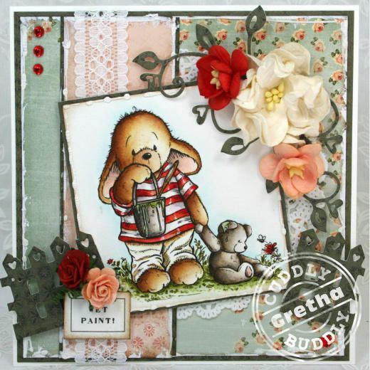 Pachela Studios Digi Stamp - Toby Tumble I've Been Painting! < Craft Shop   Cuddly Buddly Crafts