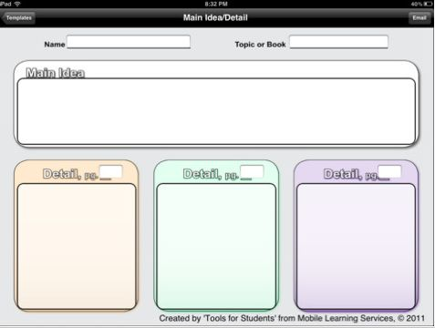 Graphic organizer app w/ 25 organizers, recommended for grades 3-12 and for language arts and other curricular areas