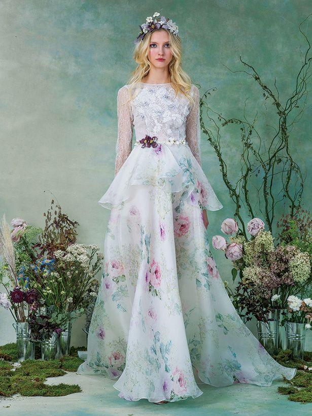 ≪エリザベス・フィルモア≫Elizabeth Fillmore 水彩画風のフローラルプリントを主役にしたロマンティックなドレス。