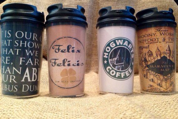 Customizable Harry Potter Gift Set  Travel Coffee Tea Travel Mugs Cups Golden Snitch Necklace Watch Felix Felicis Deathly Hollows from SeedsOfFaithMom on Etsy