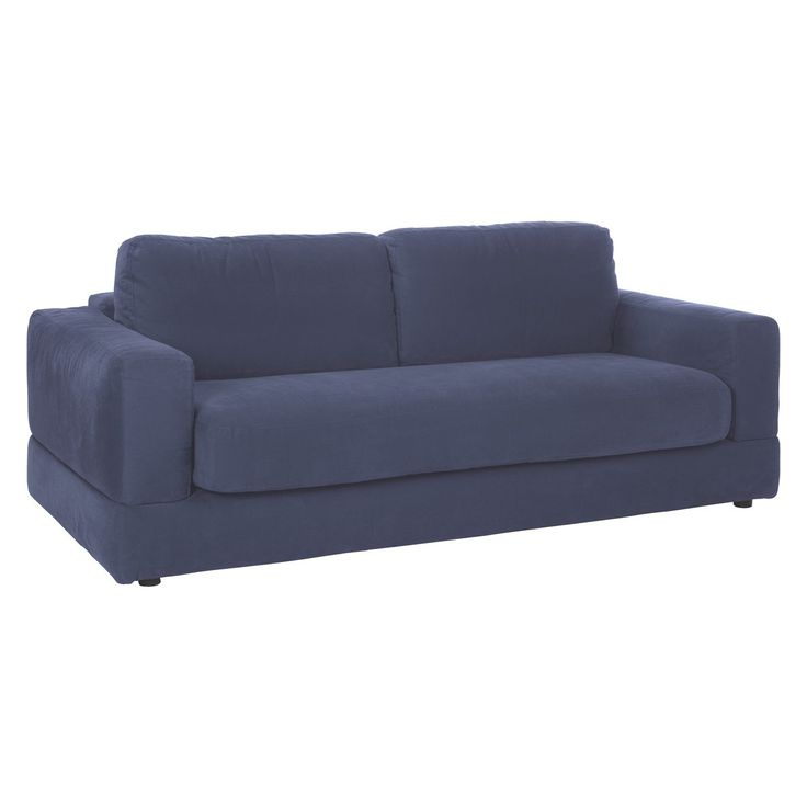 Seymour Blue Brushed Cotton 3 Seater Sofa Bed