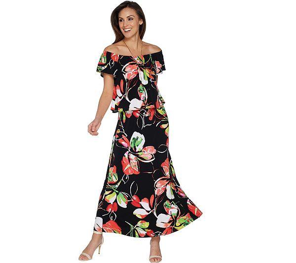 Susan Graver Printed Liquid Knit Maxi Dress In 2018 Four Or